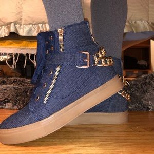 Denim blue gold chain Ankle Booties